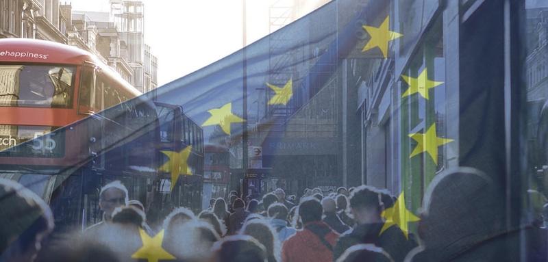 EU flag London red bus1
