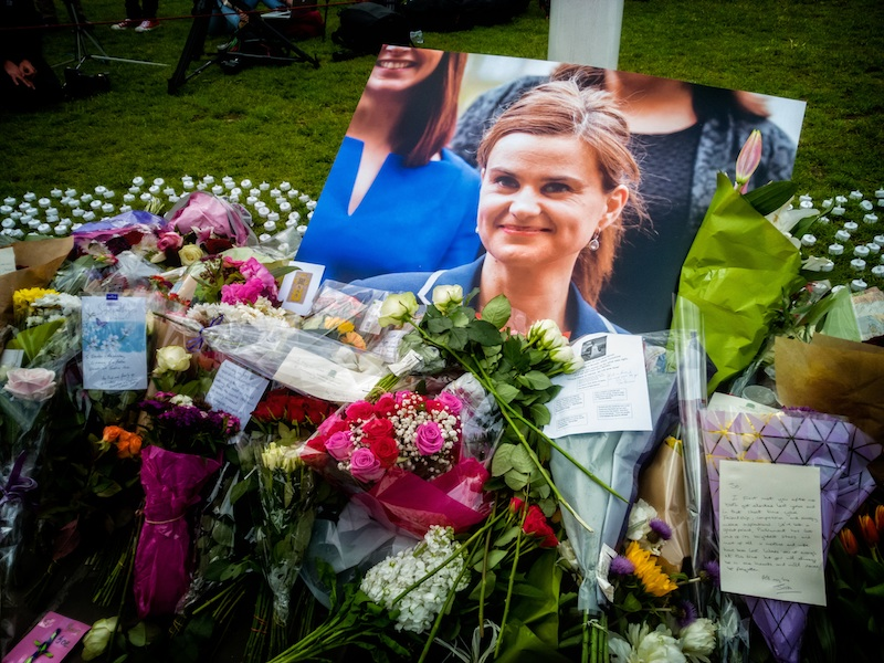 Photos taken at the memorial site for Jo Cox MP at Parliament Square in London.