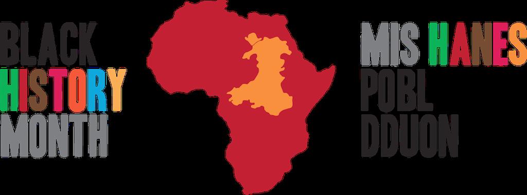Black History Month Wales bilingual logo