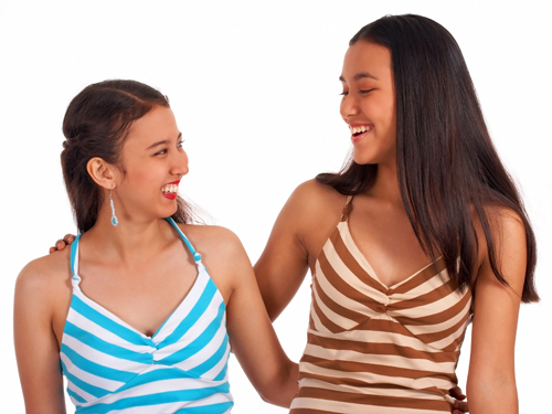 Two Female Friends Laughing