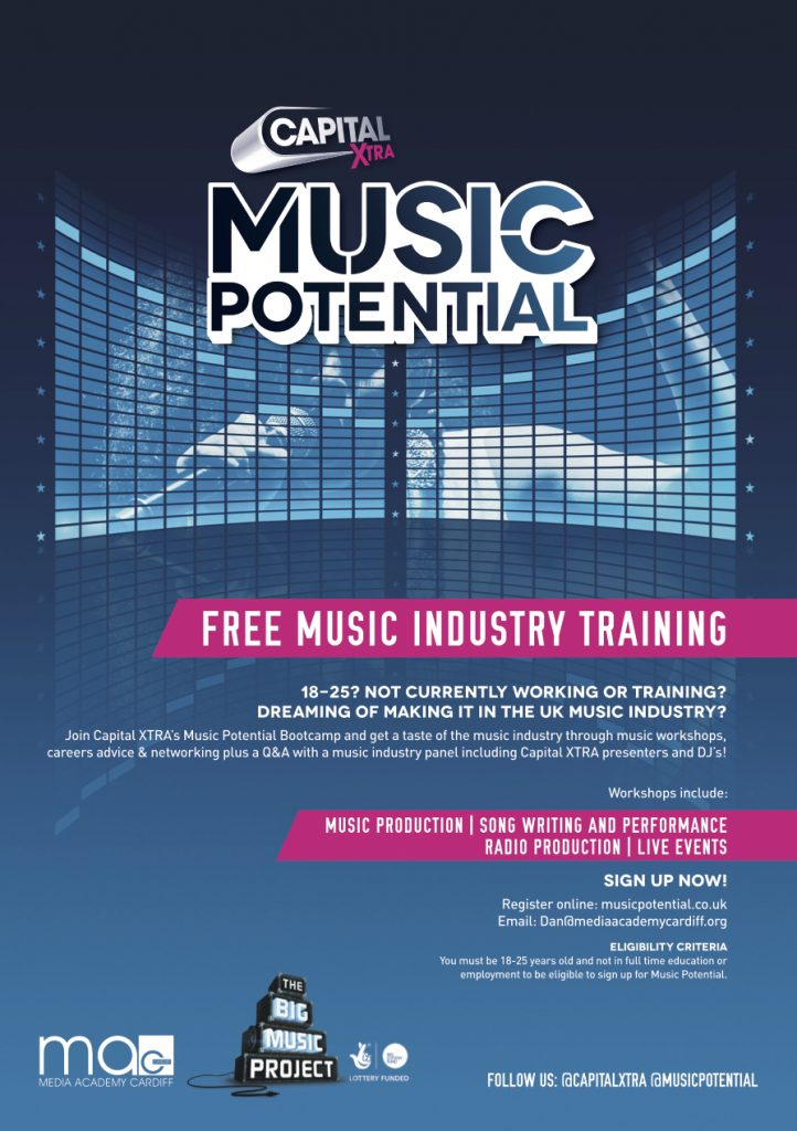 Capital XTRA's Music Potential helps young people aged 18-25 who are not in employment, education or training to improve skills, develop talent and enhance their employability prospects. Read more at http://www.capitalxtra.com/music-potential/#dkKhGzvPqbButYsv.99
