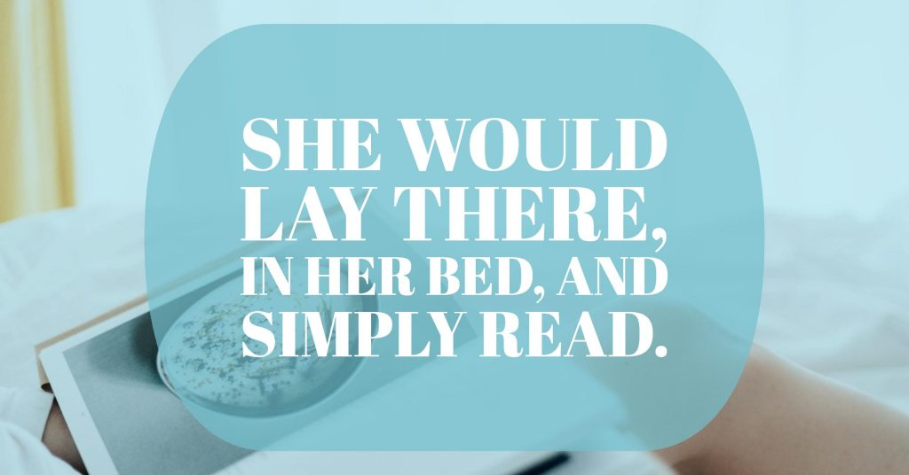 """She would lay there, in her bed, and simply read."" graphic for Fluidity 1 new creative writing on TheSprout.co.uk"