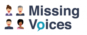 4 heads with taped up mouths next to the missing voices logo