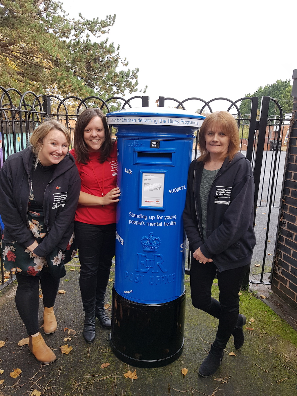 """Action for children's Worcester team alongside the Royal Mails Blues busting Letter Box"" for the Blues Programme article"