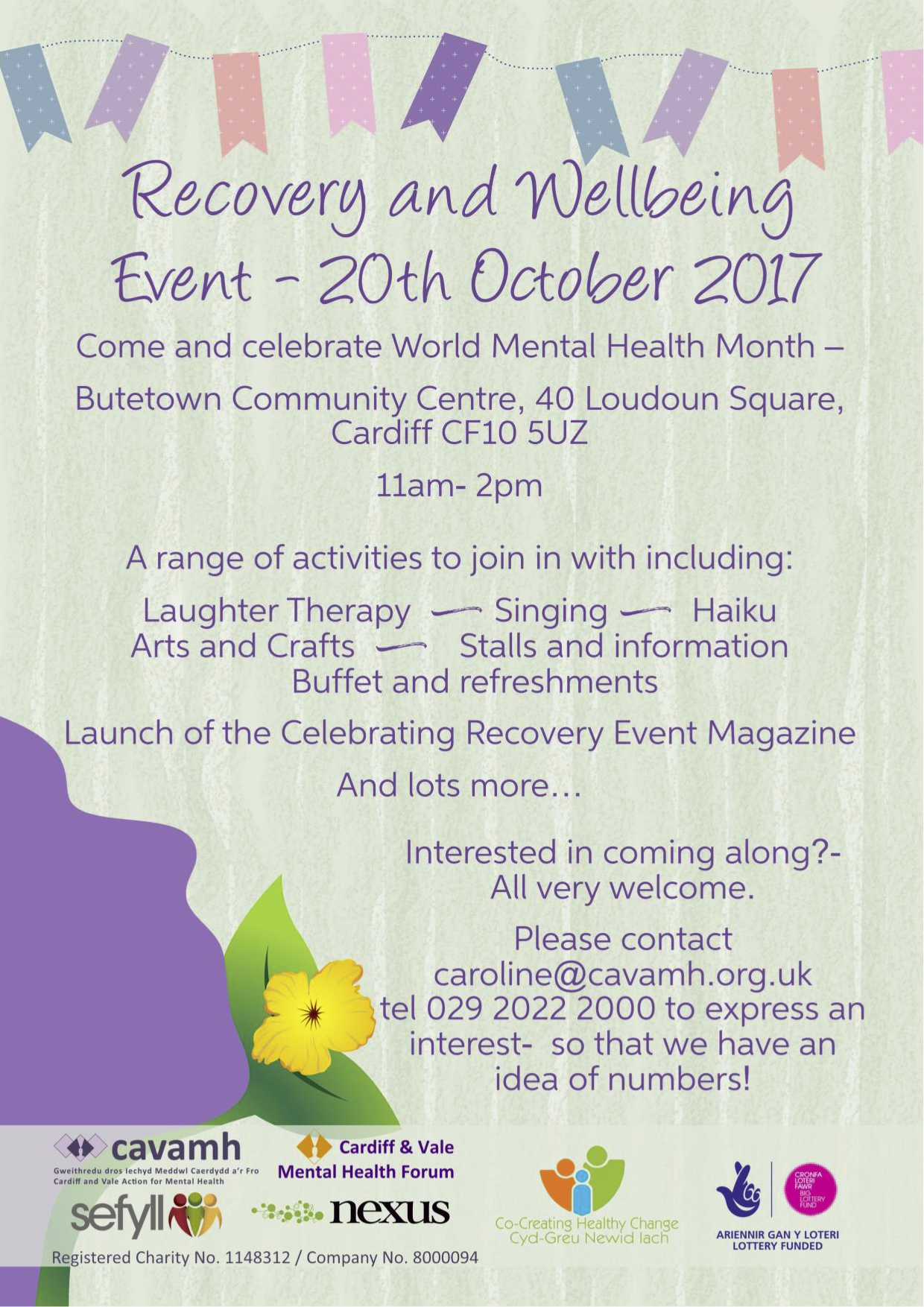 Recovery and Wellbeing event 20th Oct 2017