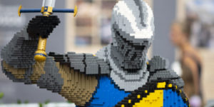 CARDIFF, UNITED KINGDOM - AUGUST 03: Nine LEGO® models made with a total of nearly 750,000LEGO® bricks at Tacoma Square at Mermaid Quay which will be on display until September 1. The display features an 11ft fire-breathing dragon. (Photo by Matthew Horwood)