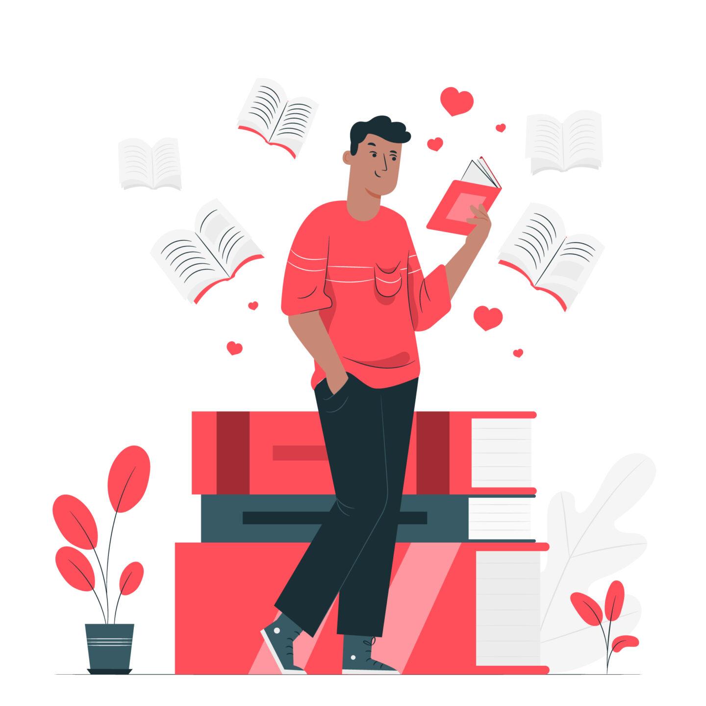 Illustration of man reading book
