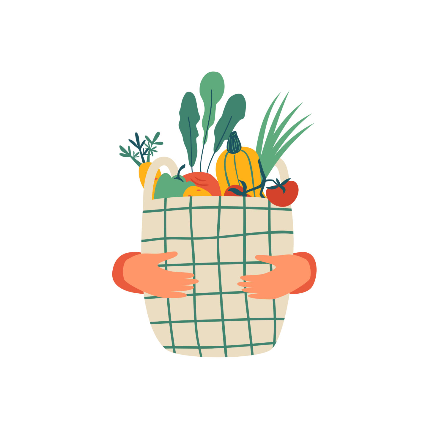 Food in basket illustration