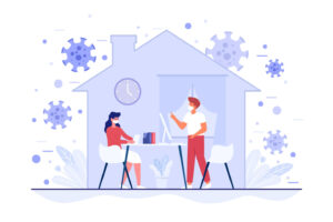 Cartoon image of two people in a house with virus germs outside for firebreak article