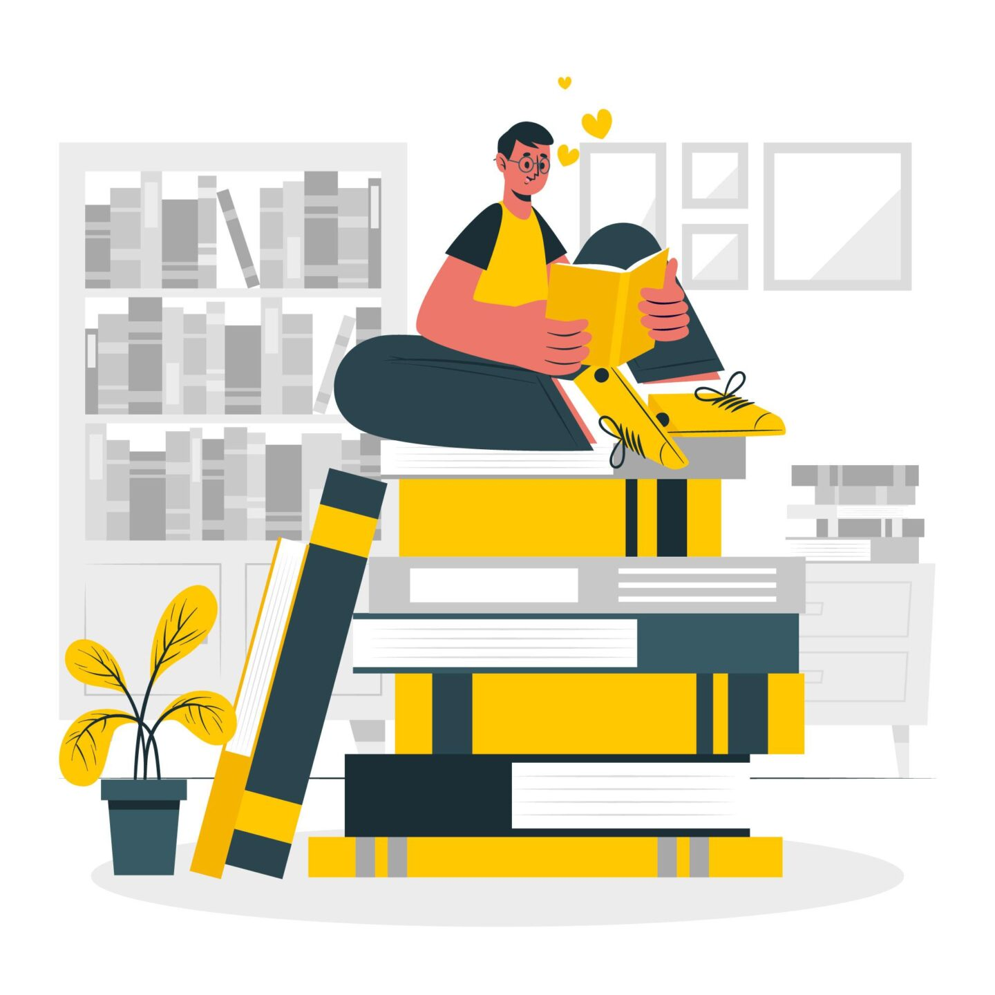 Man reading on a pile of books cartoon