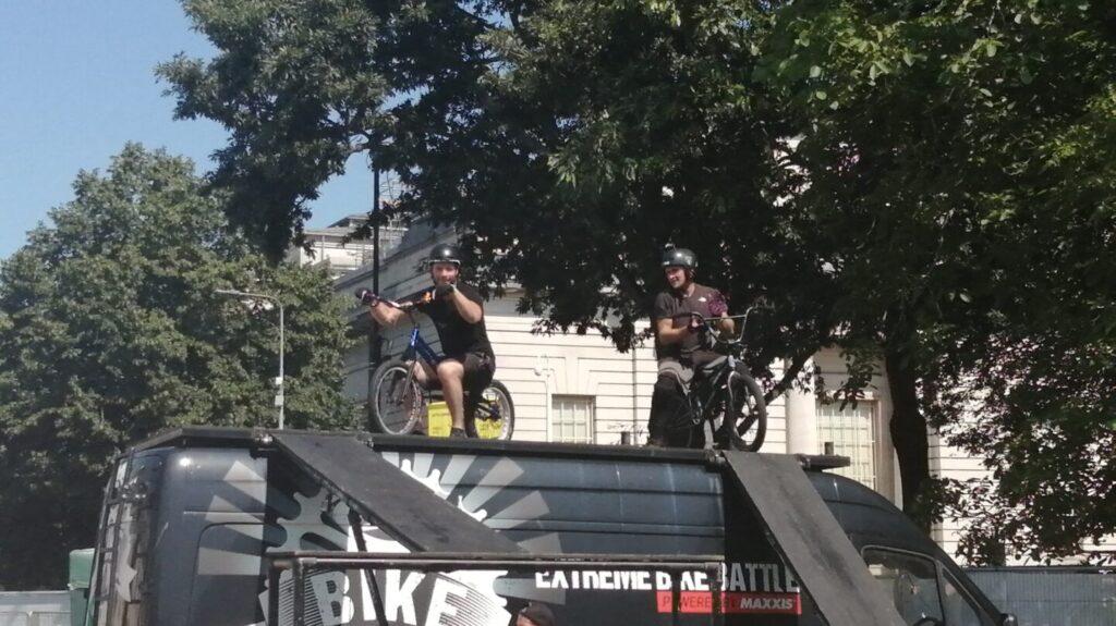 Extreme biker stunt