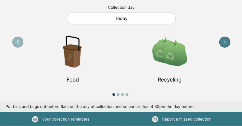Food Collection Waste Calendar