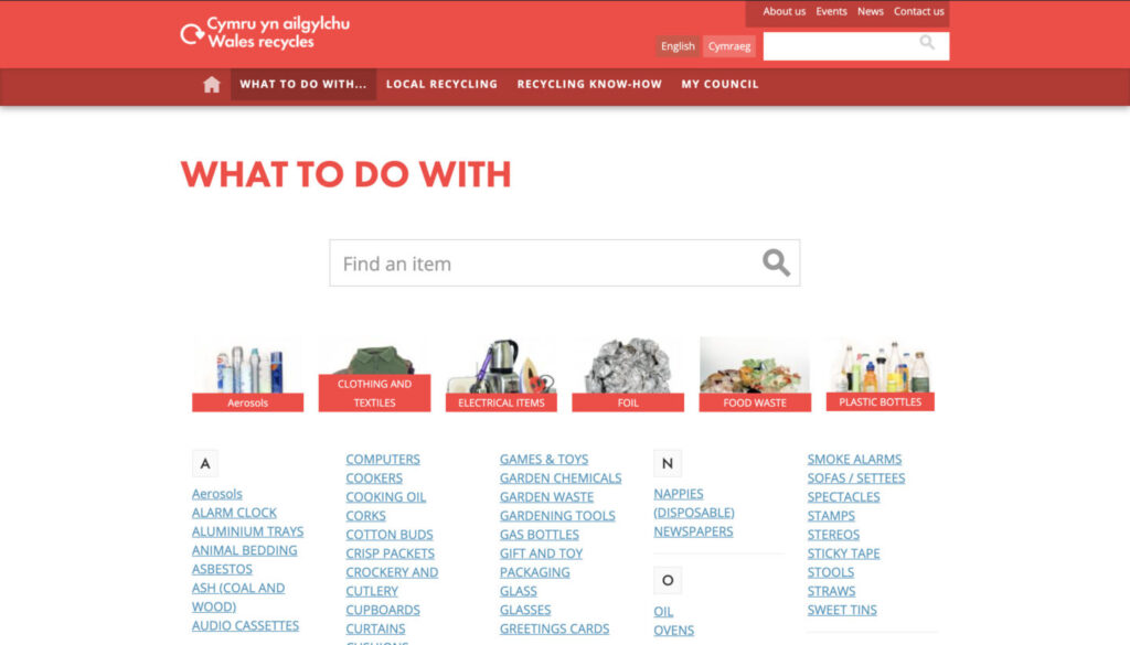 Screenshot of Waste Website